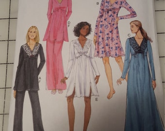 Easy Loose Pajama Pants Empire Top Gown Butterick 5688
