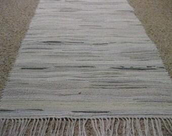 Handwoven White w/ Color Splashes Rag Rug 25 x 35 (made from socks)