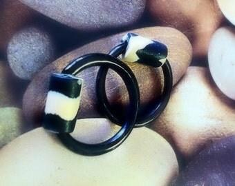 Horn Hoop Earrings , 10 gauge, Black & White