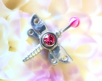 Sterling Silver, Dragonfly, Navel Ring, Pink CZ, 14 gauge