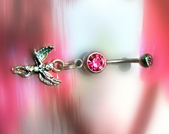 Angel Belly Ring, Sterling Silver, 14 gauge, Internally Threaded, Pink Gems,  Autoclave Sterilized, On SALE!