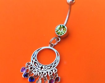 Sterling Silver, Celtic Navel Ring, Birthstone Jewelry, Peridot Green, August Birthday,