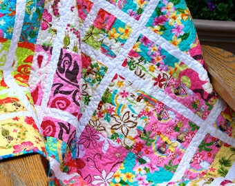 Quilt Throw Hawaiian Tropical Aloha Scrappy Patchwork Children Hula Dancers hibiscus plumeria Lap Beach Blanket Picnic Blanket Table Topper