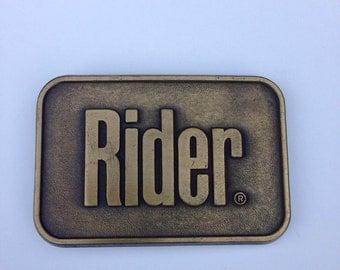Belt Buckle Vintage 1980s Brass Metal Rider