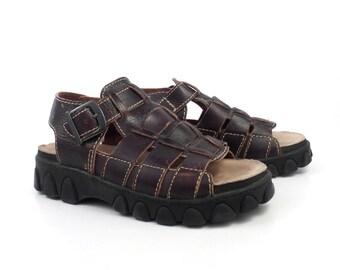 MIA Shoes Sandals 1990  Brown Leather Women's US size 8 1/2 Platform