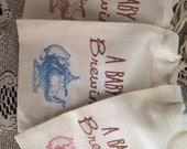 Baby Shower Tea Party Favor Bags 30, Tea Party Baby Shower Favors, Muslin Favor Bags, A Baby is Brewing