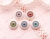 Round Creepy Doll Eyeball Flatback Cabochon - 5pc | Resin Cabochon Decoden Supplies Jewelry Making Flatback Resin Cabochon