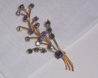 Vintage Brooch or Pin with Blue Aurora Borealis Rhinestones