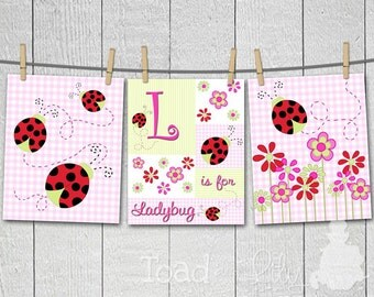 Set of 3 Lovely Ladybug Girl's Bedroom Nursery 8 x 10 ART PRINTS