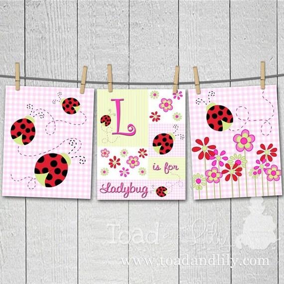 Set of 3 Lovely Ladybug Girl's Bedroom Nursery 8 x 10 ART PRINTS
