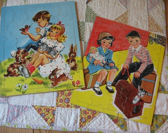 Two Vintage Saalfield S and P Company Cardboard Frame Tray Puzzles Children