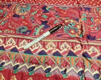 Red border rayon challis fabric