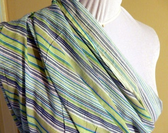 Fabric - white blue green striped voile