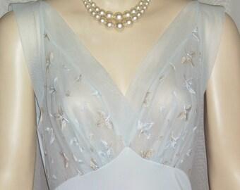 Vintage Goddess Nylon Chiffon Nightie Nightgown 34 Blue Sheer Medium
