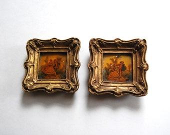 Vintage Pair of Miniature Tile Paintings