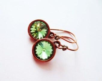 Peridot earrings. Green earrings. Copper dangle earrings. Peridot rivoli earrings. Green rivoli. Green crystal earrings. Peridot crystal.