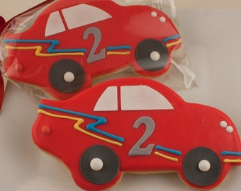 Race Car Cookies - 12 Decorated Sugar Cookie Favors