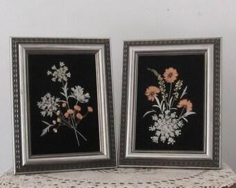 Pressed flowers on black velvet, pair
