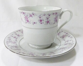 F.T.D.A. cup and saucer coffee tea vintage 1987 floral porcelain