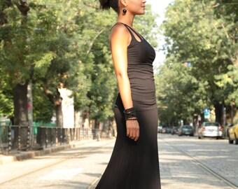 Long Maxi Skirt, Fitted Skirt, Black Maxi Skirt, Black Cotton Skirt, Black Full Skirt, Plus Size Skirt, Black Summer Skirt, Evening Skirt