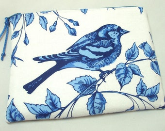 Padded Zipper Pouch Change Purse or Coin Purse in Bird on the Vine Print