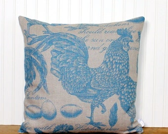 SALE - French Country Pillow Cover - Pillow Cover - Rooster Pillow - Throw Pillow - Accent Pillow - Blue Pillow - Taupe Stripe Pillow