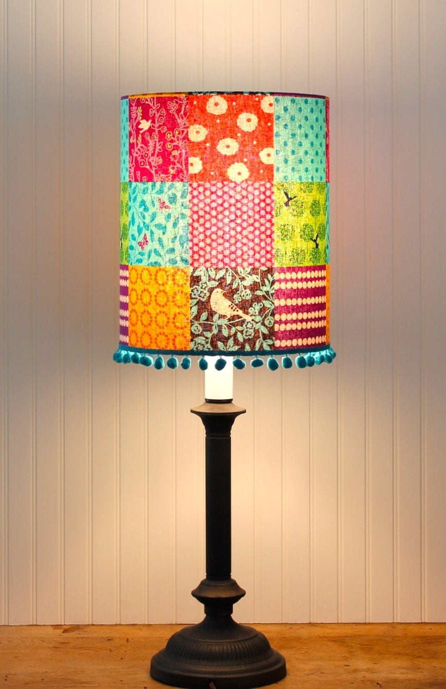 multi color drum shade lamp shade lampshade pendant by. Black Bedroom Furniture Sets. Home Design Ideas
