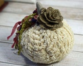 Mini Fabric Pumpkin Plush Chenille and Burlap Rustic Cottage Chic Fall Thanksgiving Centerpiece Table Decoration Party Place Setting