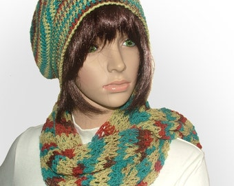 Crochet Beanie & Scarf Set, Crochet Slouchy Hat, Lacey scarf in Variegated Multi-color