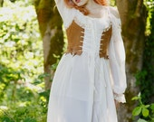 Steampunk fairy gypsy leather bodice with lace trim and steel boning