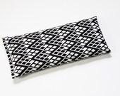 Herbal Eye Pillow, Lavender Flaxseed Hot Cold Compress, Black White Geometric Diamond, Meditation