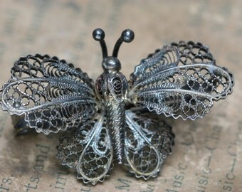 Vintage 800 Silver Filigree Butterfly - Italy
