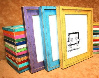 6x8 picture frame, Colored photo frame, Weathered rustic shabby picture frame, shabby distressed frame, colorful 6x8 frame