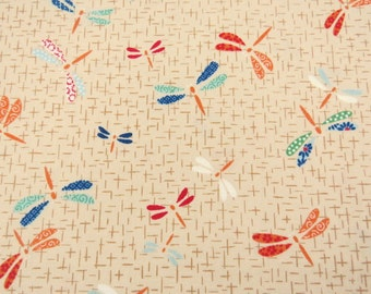 2618A -- Dragonfly Fabric in Bisque, Insect Fabric