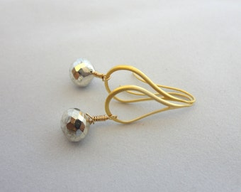 Silver Pyrite Teardrop Earrings