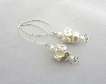 Brushed Sterling Silver and Pearl Earrings