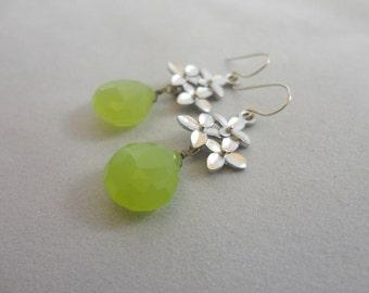 Lime Green Chalcedony  Flower Earrings