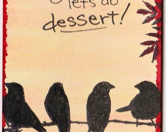 ACEO Mixed Media Original Collectible - Humor - Birds Conversations - when you know - It's going to be ONE of those days! Peach Sky Art