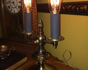 The Brass Candle Lamp with 2 Edison bulbs Vintage
