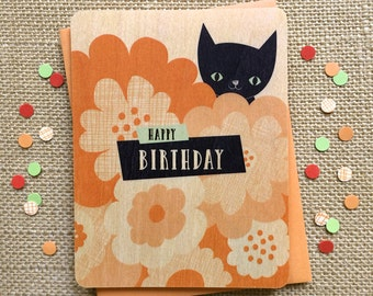 black cat birthday card - real wood card - purrfect for cat lovers - birch wood - wc1267