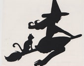 Cat and Pin Up Witch Silhouette, Black Vinyl Decal
