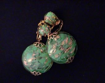 Vintage Venetian Murano Green and Aventurine Art Glass Earrings