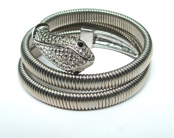 Vintage Silver Coil Snake Wrap Cuff with Diamond Glass Rhinestones