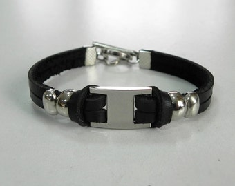 Black Leather Bracelet Leather Cuff Two Strand Leather