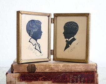 Vintage Framed Silhouette / 1950's Paper Cut Portraits