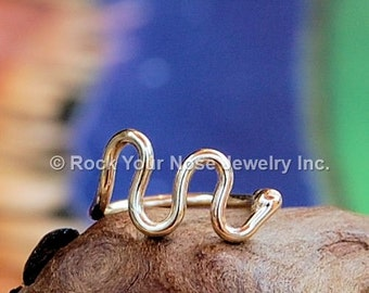Wave Gold Nose Ring - 14K Solid Yellow Gold - CUSTOMIZE