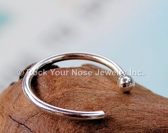 Nose Hoop /  Argentium Silver / Budded Open- CUSTOMIZE