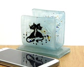 Cell Phone iPhone Docking Stations Teal  Fused Glass black cats