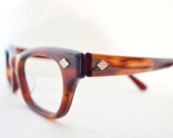 """Mock tortoise NOS Vintage 60s Eyeglasses, never used Menswear Inspired Horn Rimmed Sunglasses Rectangular.cat eye glasses 46 19 5.5"""""""