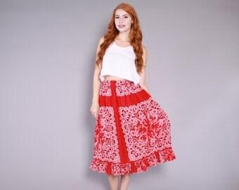 70s BANDANA Print SKIRT / 1970s Red & White Paisley Cotton Full Midi Skirt